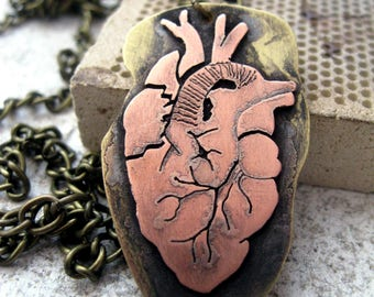 Anatomical Heart from copper and brass - Handmade anatomical heart - Copper jewelry. Human Heart