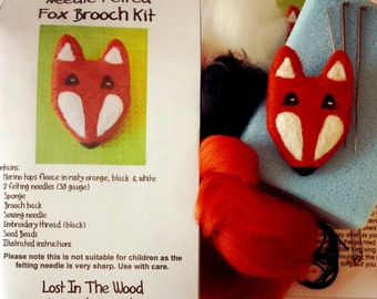 Needle Felted Foxy Brooch Kit