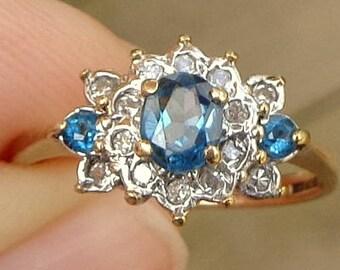 Blue Zircon, Diamond, 9k Yellow Gold Ring, Promise Ring, Engagement, Wedding, Something Blue, Gorgeous Ring