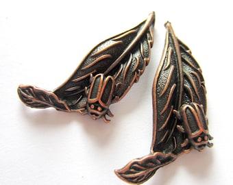 Copper leaf pendants 6 antique copper leaf charms no lead no nickel 44mm x 22mm x 4mm S606R CC2