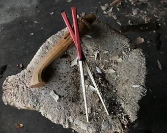"10"" hand carved milk painted chopsticks"