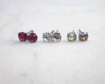 Swarovski crystal stud earrings, small crystal earrings, everyday sterling silver studs, dainty 4mm crystal post earrings, Swarovski posts