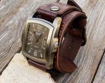 Mens Leather watch, Leather cuff watch, Rectangle Sport wrist Watch for mens, Distressed rustic leather Wrist Watch