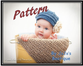 Newsboy Hat with Flower Pattern - Girl Brimmed Hat - Baby Girl Newsboy Hat and Button Flower Pattern - Newborn to 0 - 3 months Crochet Hat
