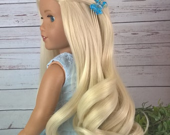 "Custom 10-11"" Doll Wig Fits Most 18"" Dolls Gorgeous ""Bleached Blonde Swirl"" - Heat Safe"