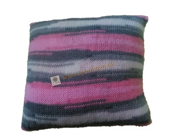 Knitted ombre gray, white and pink baby pillow - unique, soft and cozy.