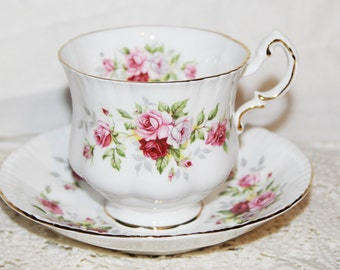 """Vintage Vintage Paragon Cup and Saucer England English Flowers """"Rose"""" Beautiful Condition"""