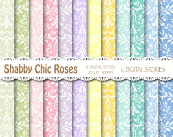 "Shabby Chic Digital Paper: ""SHABBY CHIC DAMASK"" Colorful Damask background  for scrapbooking, invites, cards"