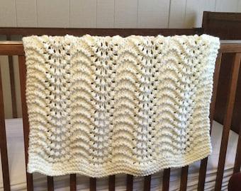 Hand Knit Baby Blanket, ivory Blanket, Knit Newborn Blanket, Knit Baby Blanket, Knit Baby Afghan, Baby Shower gift, Crib blanket, Stroller
