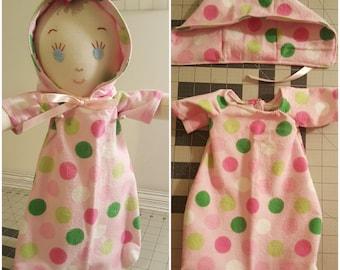 Sleeping sack, baby doll pjs, sleep, pjs, flannel sleep sack