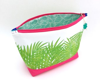 Tropical Leaves + Pink Zipper Pouch, Large Recycled Make Up Bag, Diaper Bag Organizer, Eco Cosmetics Bag, Glass Beads, Gift For Mom, Palms