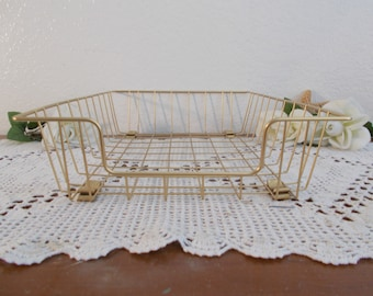 Gold Metal Wire Desk Tray Paper Organizer Industrial Office Table Top  Storage Basket Hollywood Regency High