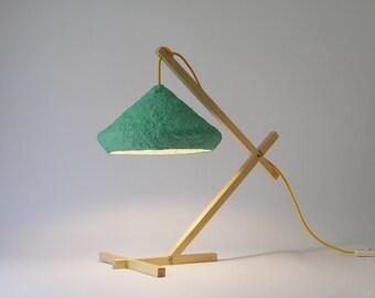 Lámpara de escritorio Mizuko Verde, lampara, luces de noche, lámpara de mesa, papel mache, lámpara de papel, lámpara de madera, lamparas