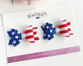 4th Of July Bows, Pigtail Set, Stars and Stripes, Red White Blue Bow, American Flag, Independence Day, Patriotic Bows