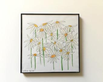 56/100: Daisies - original framed watercolor illustration