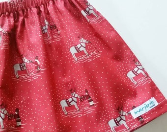 Christmas festive red reindeer scandi girls' skirt size 1,2,3,4,5