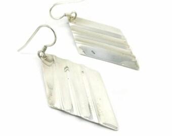 Vintage Sterling, Dangle Earrings, Diamond Shape, Hooks, Marked 925