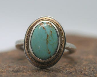 Turquoise Sterling Silver and Gold Ring, OOAK, size 8, ready to ship