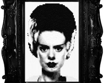 Black & White Bride of Frankenstein Cross Stitch Pattern