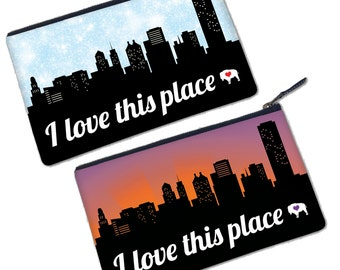 I Love This Place, Buffalo—Clutch, Wristlet, Pouch, Zipper Bag, Pencil Case, Coin Purse