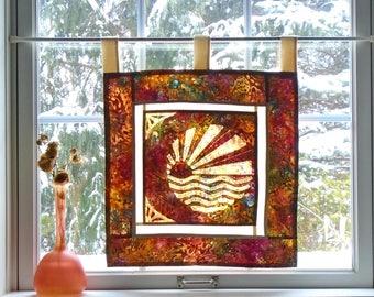 Orange Marmalade Sunset  ~ Bleached Art Stained Glass Look Pojagi Batik Window Treatment  / bohemian cafe / dorm curtain / boudoir curtain