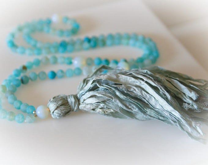 Mala 108 Bead Tassel Necklace. Aqua Blue Agate & Sari Silk Tassel. Boho Chic. Yoga Jewelry. Meditation Beads.