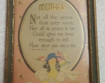 Vintage Buzza Motto Framed 1927 Mother print in delicate wood frame with glass.