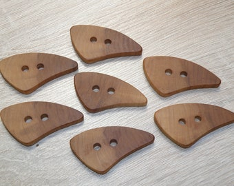 """7 Handmade apple wood Tree Branch Buttons , accessories (1,97 x 1,02"""" diameter x 0,20"""" thick)"""