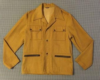 1970's, velvety, denim jacket, in brown mustard, Men's size 42