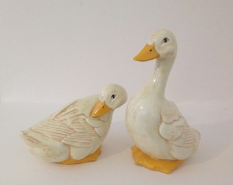 2 Large Ceramic Glazed White Ducks Geese Goose Statues Yard Porch Decor Ceramic Porcelain Bisque Figures Cozy Cottage Country Kitchen