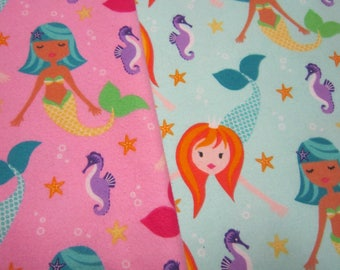 Mermaid Cotton Flannel Called Fairy Tails in Pink or Aqua by Michael Miller Fabrics