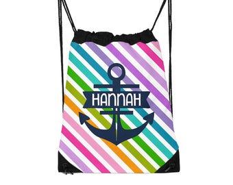 Drawstring Backpack, Drawstring Gym Bag, Drawstring Bag, Sleepover Bag, Monogram, Personalized, Rainbow Anchor Stripes