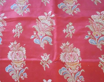 Antique French fabric textile floral decor