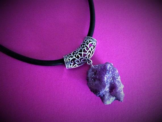 Pale Pastel Purple Titanium Opal Aura Druzy Quartz Crystal Choker Necklace Rough Raw Geode Crystals - Filigree  - Angel AB Aurora Borealis