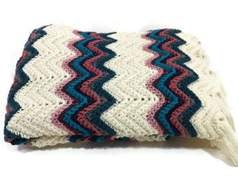 Au crochet Afghan ondulation Chevron / Jewel tons / sud-ouest