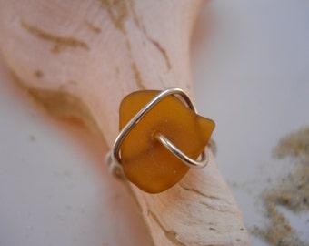 Seaglass Ring Lake Erie Amber Beachglass Sterling Silver