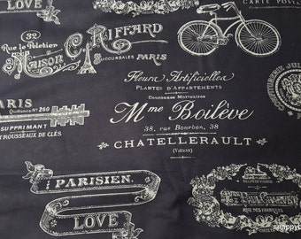 Flannel Fabric - Paris Script - By the yard - 100% Cotton Flannel