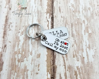 Hand stamped 2 layer tiny dog tag / small dog tag / dog tags for dogs / mini dog tags / oh sh*t I'm lost / cat tag