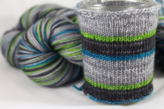 Hand Dyed Self Striping Sock Yarn, Droid Colorway, Grey and Black and Lime Green and Turquoise Stripes