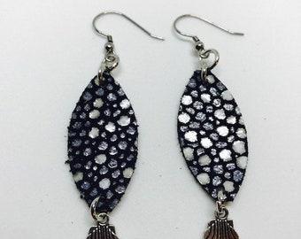 Leather, Leather earrings, Petite earrings, Small earrings, Earrings, Drop earrings, Shell Charms, Shell earrings, Girl's earrings
