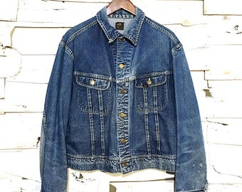 Vintage Lee Jean Jacket 101-J Sanforized Denim Union Made in USA - 46 Regular