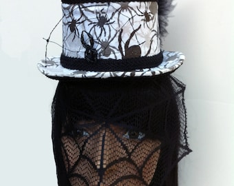 Custom order Gothic Spider Web Mini Top Hat with Metal Spiderweb, Spider, and Spider Web Veil