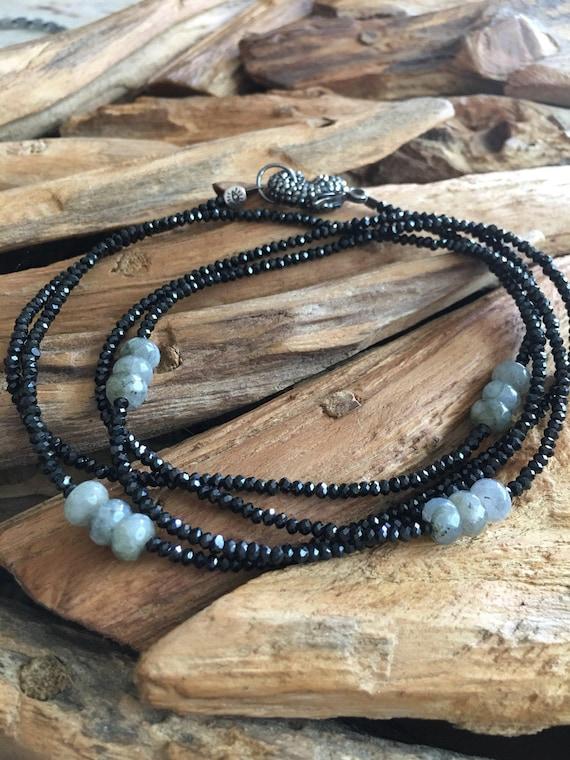 Black Spinel & Labradorite Rondelles Necklace