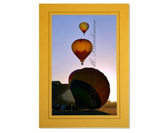 Hot Air Balloon Photo Greeting Card - Red Yellow Sunrise Photography - Balloon Card Blank Inside - Orange Balloon Note Card