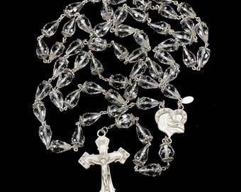 Quartz Crystal Teardrop Catholic Rosary - Faceted Beads, Marcasite Silver, Blessed Mother center - Handmade Heirloom Gift Rosaries for Women