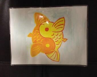Yellow & Orange Yin-Yang Koi Fish Watercolor Painting