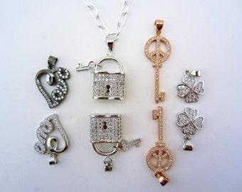 Best friend gift. Pave pendant. 2 best friend necklaces. Faux diamonds.  Key and lock. Love necklace. Peace sign. Four leaf clover necklace.