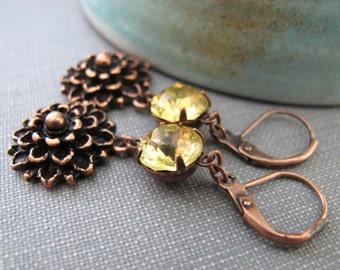 Copper Earrings, Flower Earrings, Yellow Rhinestone, Rhinestone Earrings, Dangle Earrings, Mum Flowers, Copper Flowers