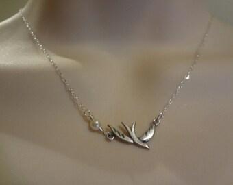 Sterling silver dove etsy tiny dove necklacesilver dove pearl necklacesterling silver necklace dove pendant aloadofball Images