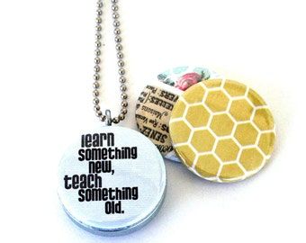 Teacher Necklace Locket  -  Coach, Trainer, Recycled, Eco Friendly Magnetic 3 in 1 Picture Locket By Polarity